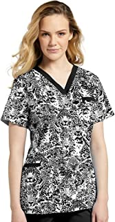 Allure by White Cross Women's V-Neck Animal Print Scrub Top X-Small Print