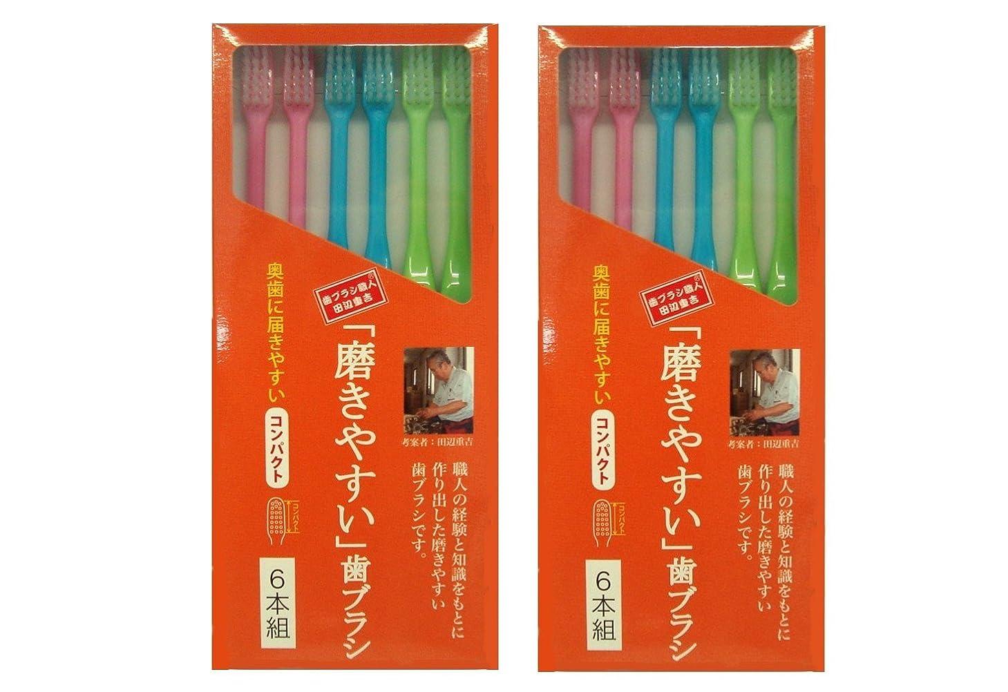 無限大情熱的フェミニン磨きやすい歯ブラシ 6本組 コンパクトタイプ×2個セット