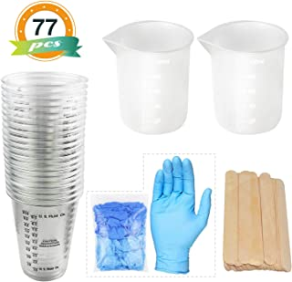 20pcs 10oz Epoxy Resin Mixing Plastic Graduated Cups 2pcs 100ml Reusable Silicone Measuring Cups with 20pcs Wood Mixing Sticks 5 Pairs Nitrile Gloves for Epoxy Resin, Paint etc …