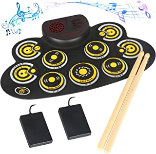 Electronic Drum Set Electronic Roll Up Practice Drum PadPortable Drum Kit with Built in Speakers Foot Pedals,Drum Sticks,13Hours Playtime Xmas Gift for Beginners &Kids