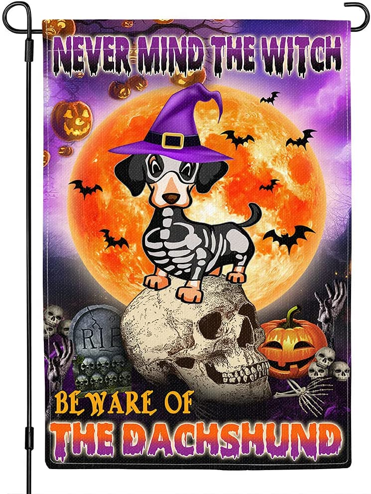 Noshye Dachshund Halloween Garden Flags 12 x 18 Inch Double Sided, Nevermind The Witch Beware Of The Dachshund Seasonal Yard Flags, Vertical Skeleton Dachshund Flag For Outdoor Decorations, garden welcome flag