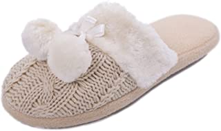 AIREE FAIREE Slippers for Woman Indoor Slip-on Mules with Knitted Upper and Pom Poms