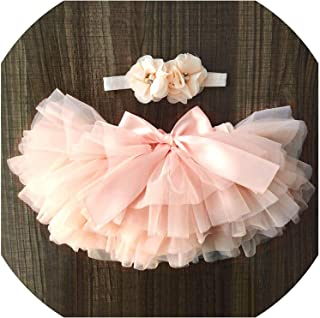 Surprise S Baby Girl Tulle Skirt and Flower Headband Set Newborn Cotton Bloomers Skirt Baby Girl