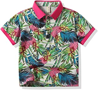Tommelise Baby Boy Pineapple Print Sleeve Shirts+Shorts Pants Gentleman 2pc Summer Set (Green Polo, 90(13-18M))
