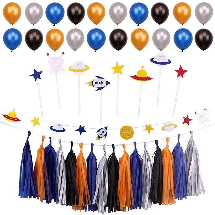 Simla Decor Outer Space Theme Party Decoration Kids Boy Birthday Party Supplies Baby Shower Paper Tassel Bunting Banner Kits Cupcake Toppers Cake Decoration