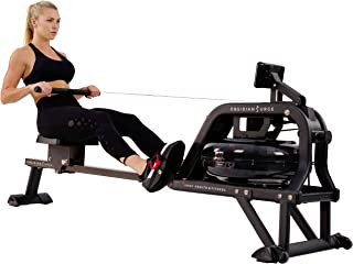 Sunny Health & Fitness Water Rowing Machine Rower w/LCD Monitor – Obsidian SF-RW5713
