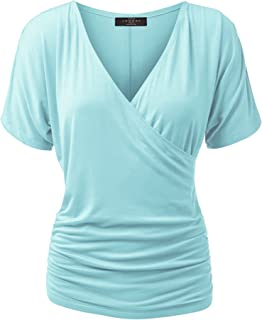 MBJ Womens V Neck Short Sleeve Wrap Front Drape Dolman Top - Made in USA