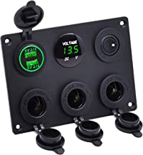 Cllena Dual USB Socket Charger 2.1A&2.1A + LED Voltmeter + 3-Socket 12V Cigarette Lighter Power Outlet Adapter + ON-OFF Toggle Switch Multi-Functions Panel for Car Marine Boat Rv Truck Mobiles (Green)