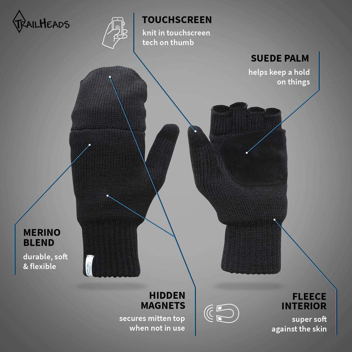 TrailHeads Women's Fingerless Gloves   Merino Knit Convertible Mittens