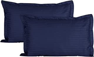 Ahmedabad Cotton Luxurious Sateen Striped Pillow Cover/Case Set (2 Pcs) 300 Thread Count - Navy Blue