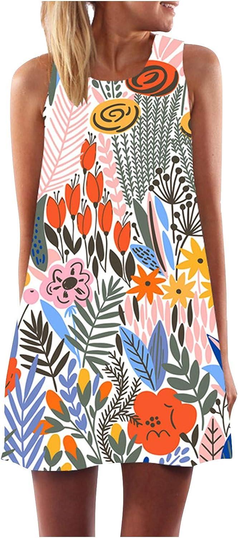 KYLEON Summer Dresses Tie Dye Dresses for Women Casual Summer Sleeveless Mini Short Sundress Beach Plus Size Tank Dress