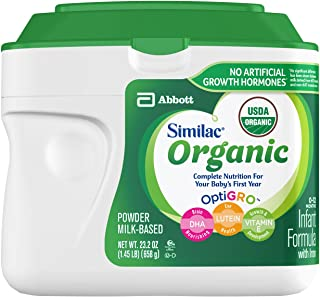 Similac Organic Non-GMO Infant Formula, Powder, Baby Formula, 23.2 ounces, 6 Count, (1-Month Supply)