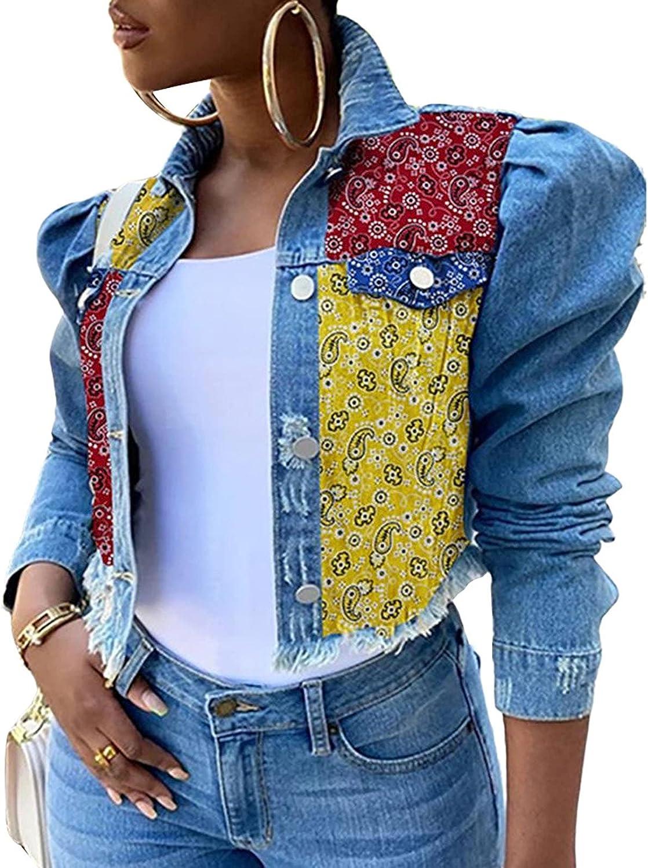 Women's Original Jean Jacket Women Oversize Vintage Denim Jacket Coat Long Sleeve Puff Sleeve