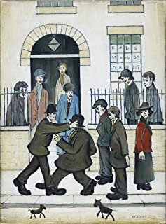 Berkin Arts L.S. Lowry Giclee Canvas Print Paintings Poster Reproduction(A Fight) Super Large 39 x 52.8 inches #SDFB
