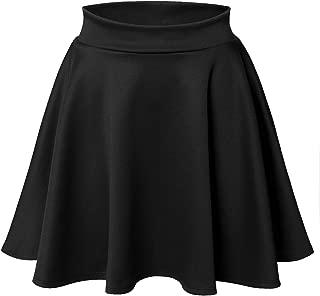 Luna Flower Women's Basic Versatile Stretchy Flared Skater Skirt (LFWSK0009)