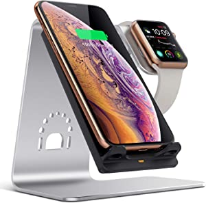 Bestand 2 in 1 Wireless Charger, Qi Wireless Charging Stand Compatible with iWatch/iPhone X/Xs/Xs Max/XR/8 Plus/8/Samsung Galaxy S10/S9/S9+ - Silver