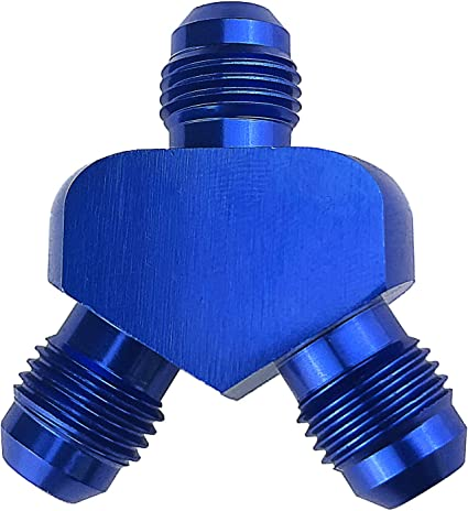 Blue Aluminum Y Fitting Adapter 10AN x 6AN x 6AN 9//16-18 Thread Y Block Splitter Male Flare Fuel Hose Tube Connector