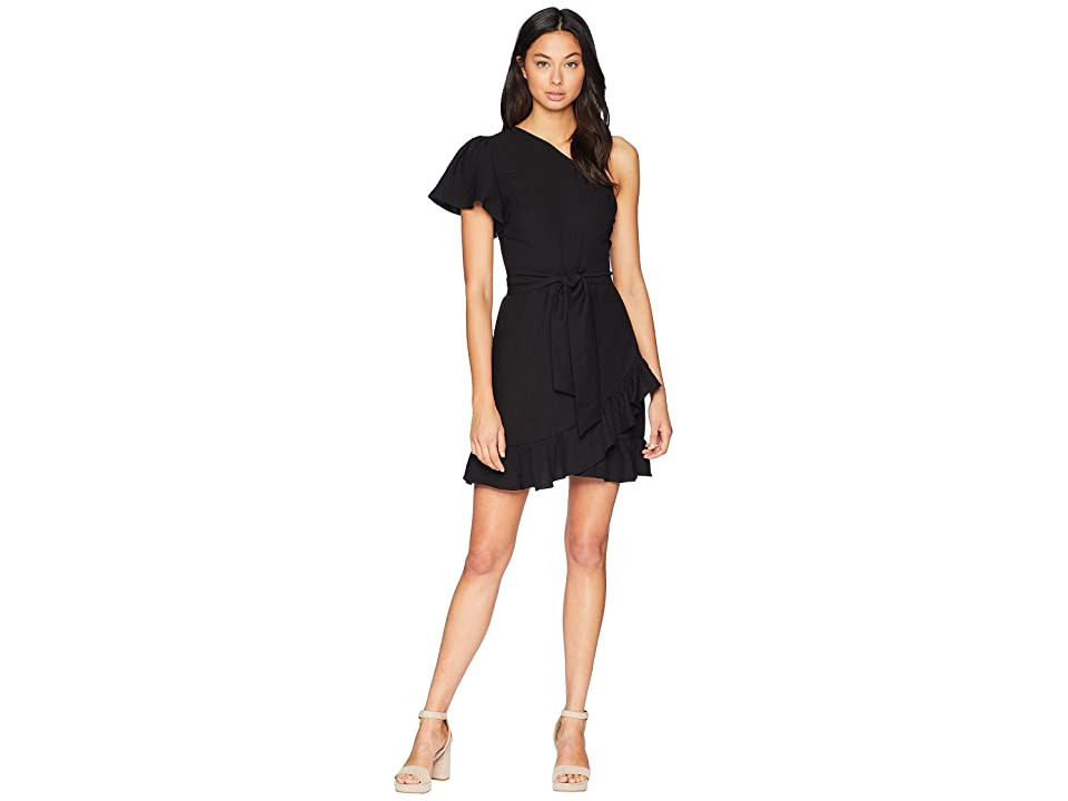 1.STATE One Shoulder Ruffled Edge Wrap Dress (Rich Black) Women