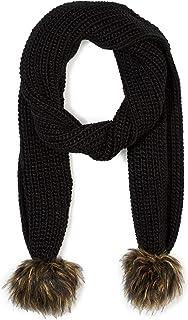 Under Zero Women's Black Knit Scarf with Faux Fur Pompom Ball