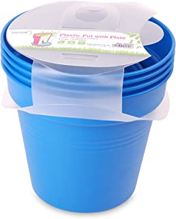 وعاء زرع بلاستيك بالطبق من مينترا، 15سم، عبوة 4، أزرق فاتح
