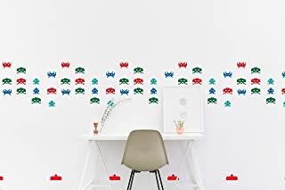 CECILIAPATER Space Invaders Wall Decal Pattern Retro Atari Game Inspired Sticker Kids Room Wall Nursery Bedroom Wallpaper Vinyl Decals Home Decor Sticker