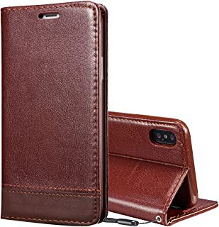 2018 Phone Covers for iPhone X Double-Sided Absorption Splicing Horizontal Flip Leather Case with Holder & Card Slots & Lanyard (Color : Brown)