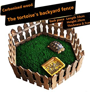 DREAMER.U DIY Reptile Landscaping Carbonized wooden fence Crafts Wood Picket Fence for Tortoise Turtle Amphibious tank Small Animals