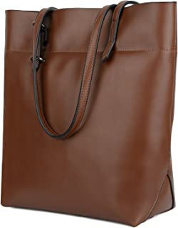 Yaluxe Women's Leather Tote Work Bag Purse Tall Shoulder Bag Zipper Closure Dark Brown