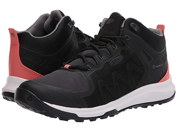 Keen  Explore Vent Mid (Black/Coral) Womens Shoes