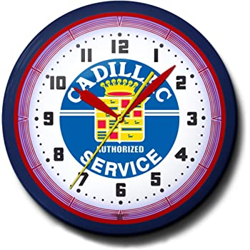 Amazon Com Pontiac Service Neon 20 Wall Clock Auto Made In Usa 110v Electric Aluminum Spun Case Powder Coated Finish Glass Face Brass Movement Pull Chain 1 Year Warranty Home Kitchen