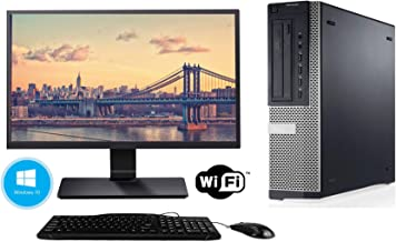 Dell Optiplex 7010 Desktop - Intel Core i5 3470 8GB DDR3 RAM, 128GB SSD Windows 10 Professional - WiFi Ready 24 Inch LED Monitor (Renewed)