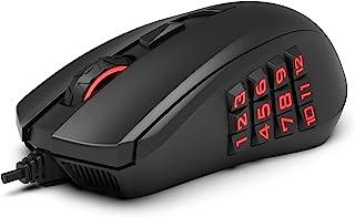 AmazonBasics – Ratón para videojuegos con sensor óptico de 12000ppp, retroiluminación y botones de pulgar