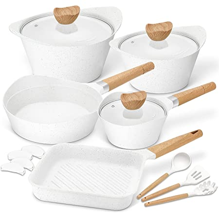 Nonstick Cookware Set 100% PFOA Free Aluminum Induction Pots and Pans Set with Cooking Utensils- 15 - Piece - White