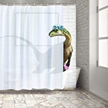 BLEUM CADE Funny Bathing Dinosaur Shower Curtain Bathroom Curtain with 12 Hooks, Durable Waterproof Animal Fun Bath Curtain