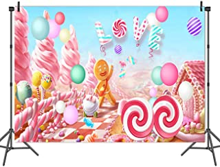 Fanghui 5x3FT Lollipop Candy Love Backdrop Baby Shower Birthday Party Banner Dessert Table Background Photo Booth Props Decor