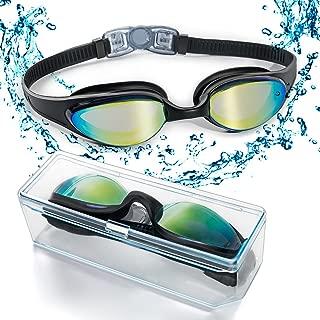 Gafas de natación con puente flexible de punta suave y de espejos coloreados, libre de fugas. Protección contra la niebla, y los rayos UV. Gafas de natación de triatlón para hombres, mujeres