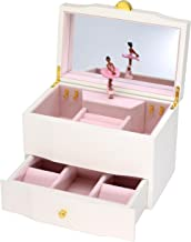 Attii African American Ballerina Jewelry Box Wooden Music Box for Girls with Drawer and Large Mirror, Waltz of The Flowers (The Nutcracker) Tune, White