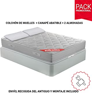 PIKOLIN Pack Colchón viscoelástico de muelles 150x190+ canapé Base abatible Blanca y Dos Almohadas de Fibra