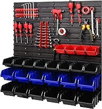 Opslagsysteem | 772 x 780 mm | Wandrek met stapelboxen - 42 stuks - Rood gereedschapshouder + blauw/zwart/rode dozen