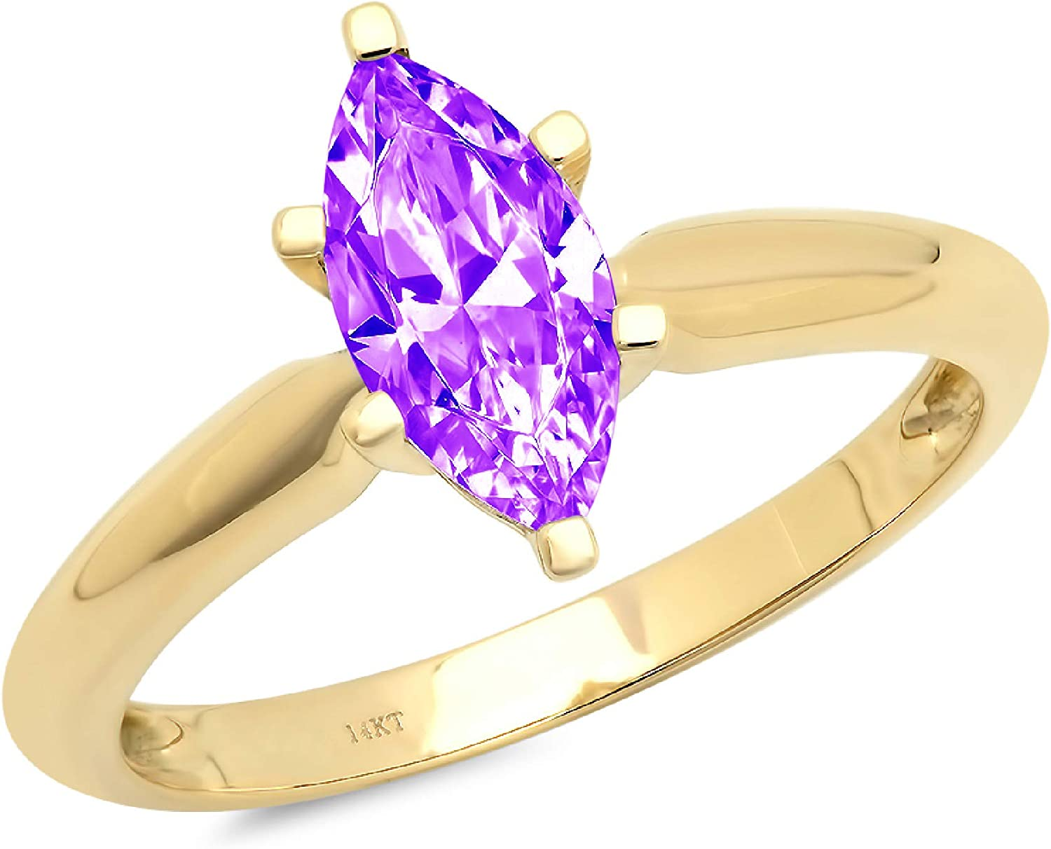 0.9ct Brilliant Marquise Cut Solitaire Natural Purple Amethyst Ideal VVS1 6-Prong Engagement Wedding Bridal Promise Anniversary Ring Solid 14k Yellow Gold for Women