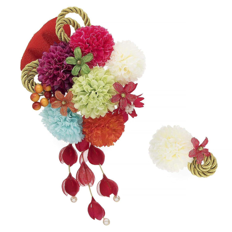 (ソウビエン) 髪飾り 2点セット 緑 紫 赤 青 カラフル 菊 花 組紐 ラメ コサージュ