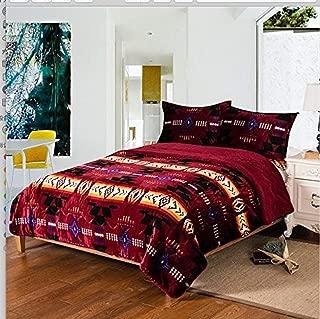Southwest Design (Navajo Print) King Size 3pcs Set 16112 Burgundy