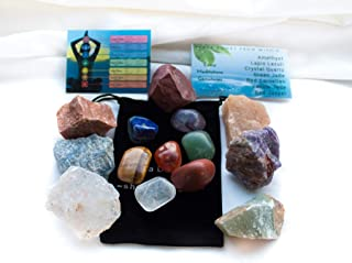 Ezina Designs Seven Chakra Crystals with 7 Polished Gemstones 14 Piece Set for Meditation and Protection Rocks of Power from Meditation Collection