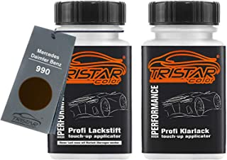 TRISTARcolor Autolack Lackstift Set für Mercedes/Daimler Benz 990 Orientbraun Metallic Basislack Klarlack je 50ml