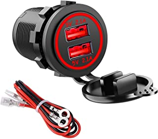 Wasserdichtes Auto USB Ladegerät 2.1A & 2.1A (4.8A) KFZ USB Steckdose mit Draht inline 10A Sicherung für 12V/24V Auto Boot Motorrad (Rot)