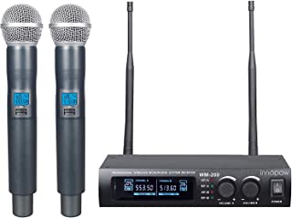 innopow Metal Dual UHF Wireless Microphone System,inp Metal Cordless Mic Set,Fixed Frequency,Long Distance 150-200Ft,16 Hours Continuous Use for Family Party,Church,Small Karaoke Night