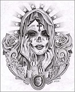 Santa Muerte by Mouse Lopez Mexican Drawing Unframed Canvas or Paper Art Print