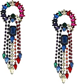 Rainbow Rhinestone Fringe Earrings