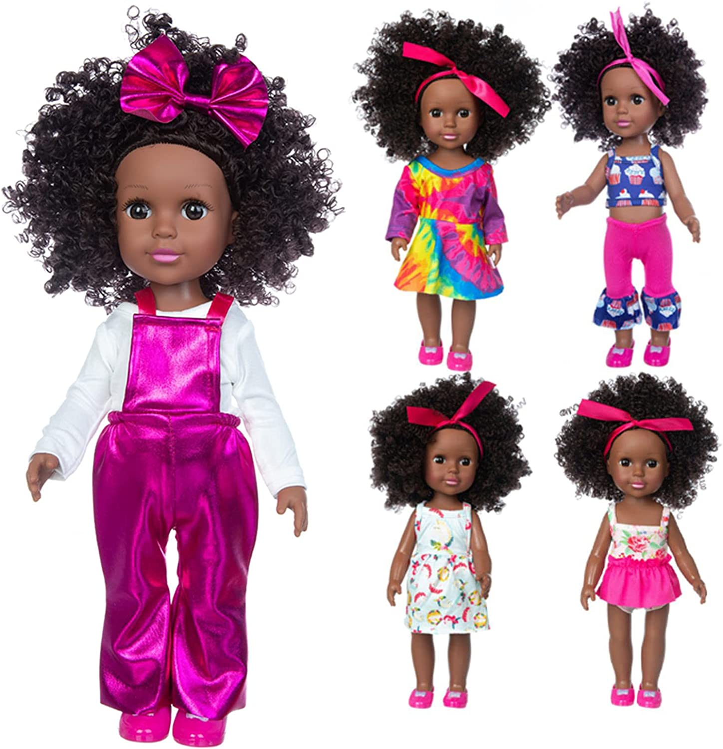 HOAYO 14 Inch Black African American Special sale item Bombing new work Sets Doll 5 Clothes Real