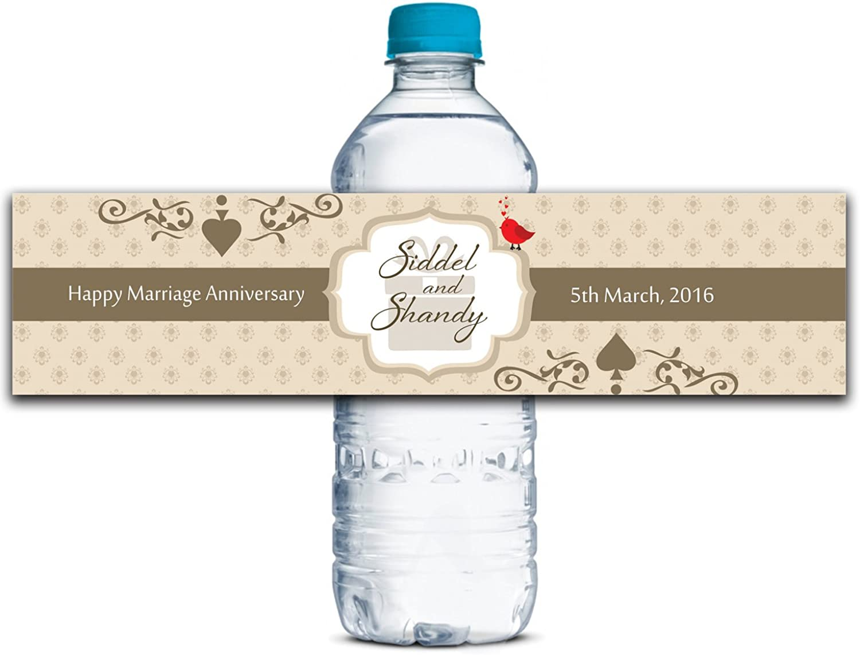 Personalisierte Wasserflasche Etiketten Selbstklebende wasserdichte Kundenspezifische Jahrestags-Aufkleber 8  x 2  Zoll - 50 Etiketten B01A0VYYNC  | Guter Markt
